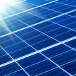 Solar panel with sunbeams — Foto Stock