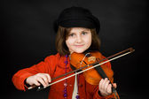 Girl practicing the violin — Stock Photo