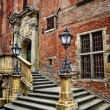 Old town hall stairs and lanterns — Stock Photo