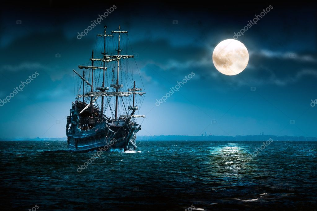 Sailing ghost ship on the high seas in the night. Flying Dutchman in the Moon light.   Stock Photo #2207372