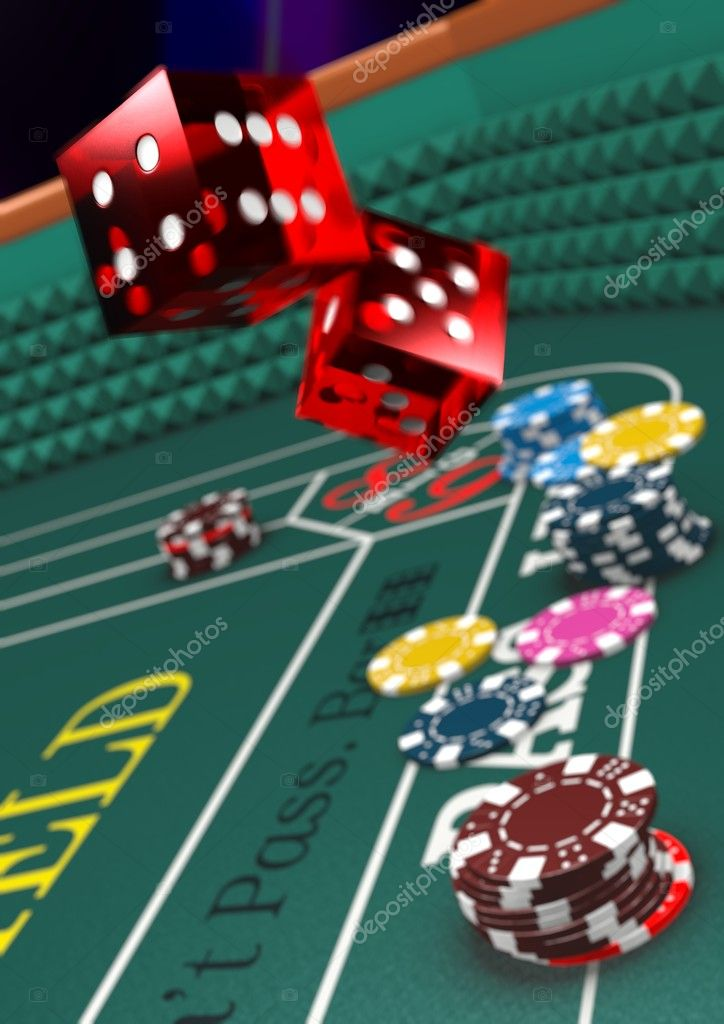 Version with Shallow Depth of Field. Casino craps table, dice in motion.  Stock Photo #2207378
