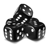 Black dice stack — Stock Photo