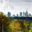 Stock Photo: City panorama, Warsaw in clouds, Poland