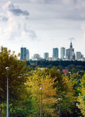 City panorama, Warsaw in clouds, Poland — Stock Photo