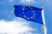 Flag and emblem of the European Union — Stock Photo