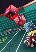Casino craps, throwing dice — Stock Photo