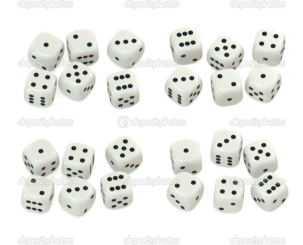 Group of Ivory like  dice sets 3D, black pips — Stock Photo #2374939