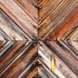 Stock Photo: Wooden board tile and rusty nails heads