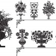 Antique vases with flowers — Imagen vectorial