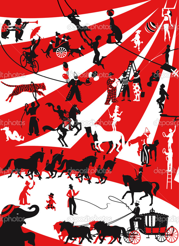 Good old circus - silhouettes of circus performers in a retro style — Stock Vector #2262629