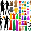 Stock Vector: Fashion silhouettes