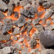 Stock Photo: Hot flaming coal
