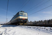 Train in winter — Stock fotografie
