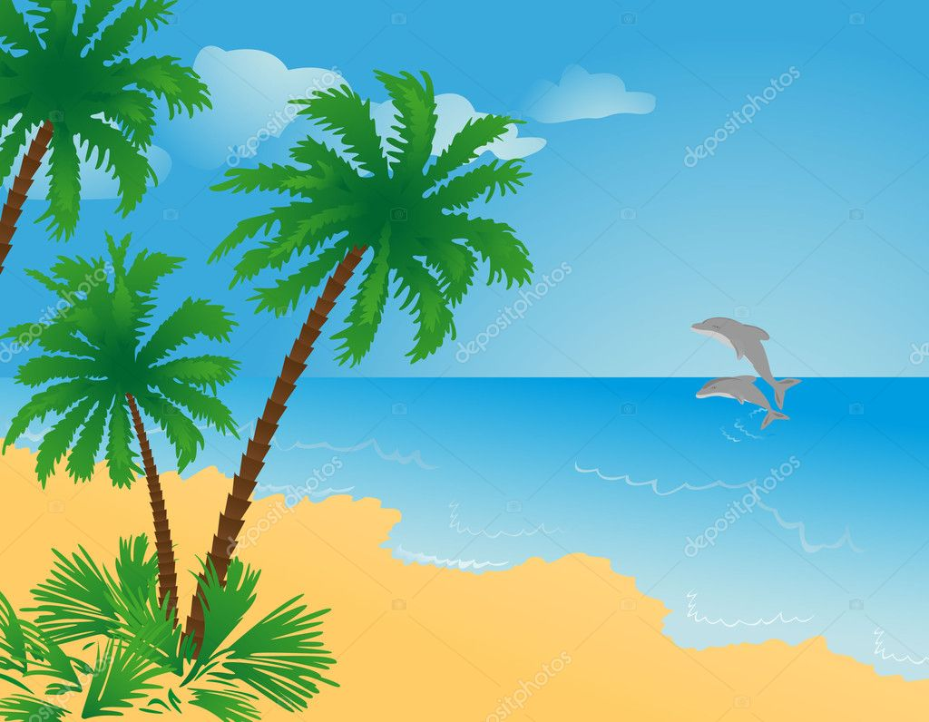 рисунок пальма море