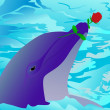 Dolphin and a rose — Stock Vector