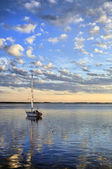 Yacht on the river — Stock Photo