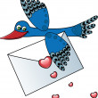 Bird carrying a love letter - Stok Vektör