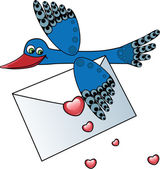 Bird carrying a love letter — Stockvector