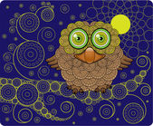 Night Owl on a Branch — Stock Vector