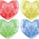 Set of diamond hearts — Stock Vector