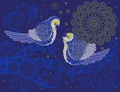 Birds kissing at night — Stock Vector