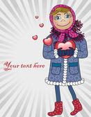 Flicka i kärlek — Stockvektor