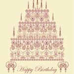 Birthday cake greeting card — Stock Vector