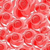 Seamless bright red rose pattern — Stock Vector