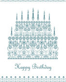 Birthday cake greeting card — Stock Vector