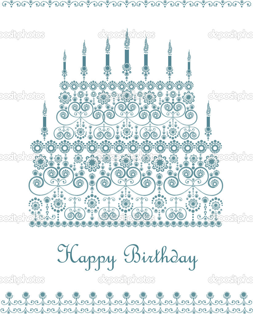Greeting card with birthday cake in decorative style   Stock Vector #2614379
