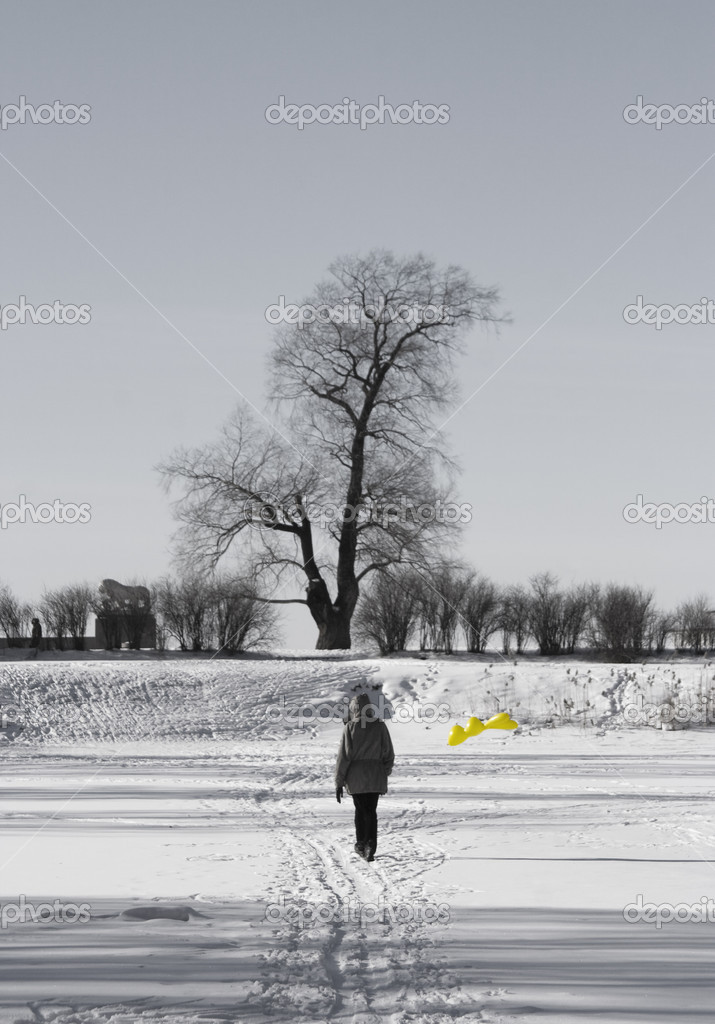 Woman with balloon in winter park — Stock Photo #2303973