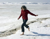 Barefoot on a snow — Stock Photo