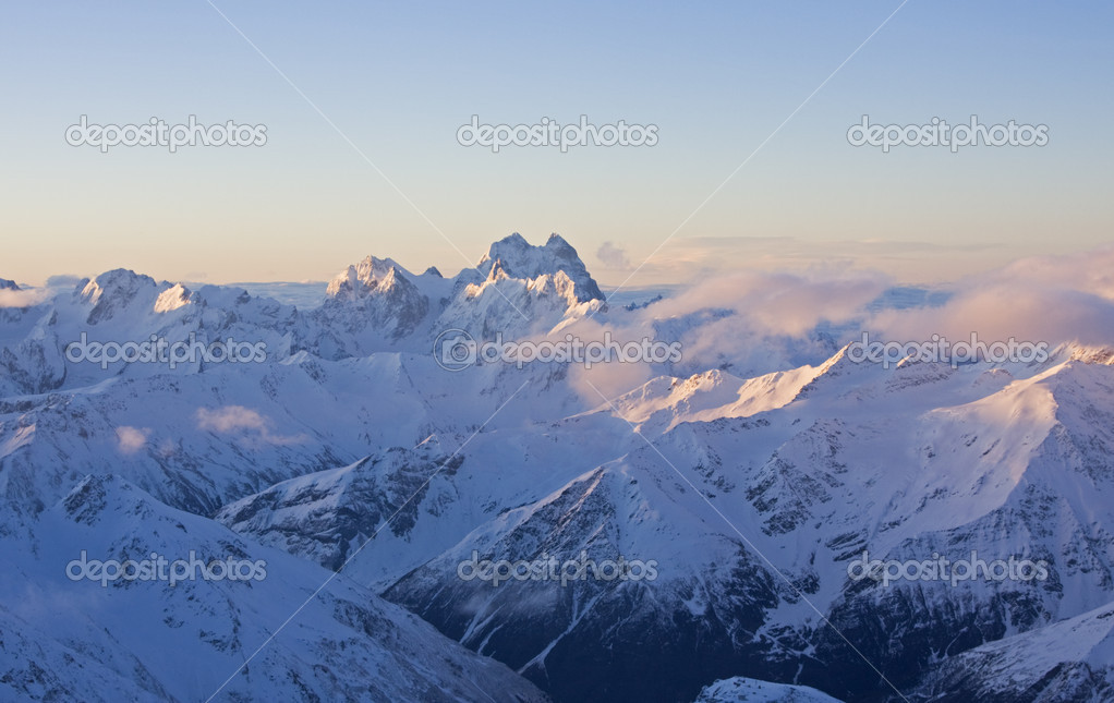 Mt. Ushba from Elbrus. Caucasus Mountains in spring — Stock Photo #2506042