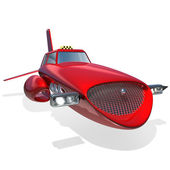 Red futuristic taxi. 3D illustration — Stock Photo