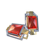 Two ruby earrings. 3D illustration — Stock Photo