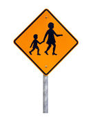 Warning Children Crossing Sign — Stock Photo