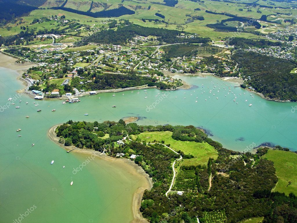 Mangonui New Zealand  city photo : Aerial View of Mangonui, New Zealand — Stock Photo © cloudia ...