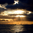 Sunset over Boats and Ships. Hawaii — Stock Photo