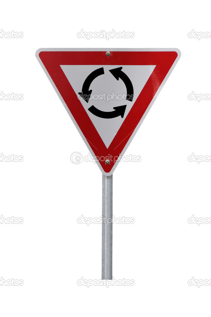Roundabout Warning Sign for right-hand traffic (reflective). Isolated on white. — Stock Photo #2366451
