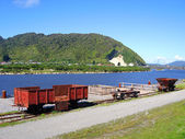 Wharf and Mining Carriages at Greymouth — Stock Photo