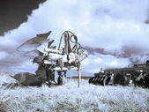Plough machines on fields — Stock Photo