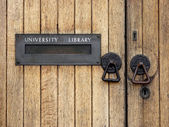 University library entrance — Stock Photo