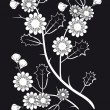 Stock Vector: White flowers on black background