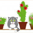 Stock Vector: Gray cat among cacti
