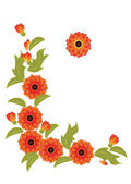 Orange flowers and leaves — Stock Vector
