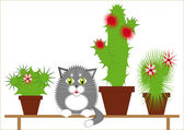 Gray cat among the cacti — Stock Vector