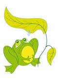 A frog sitting under a sheet — Stock Vector