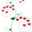 Floral ornament with hearts - Stock Vector