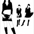 Stock Vector: Silhouettes of girls