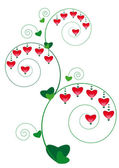 Floral ornament with hearts — Stock Vector